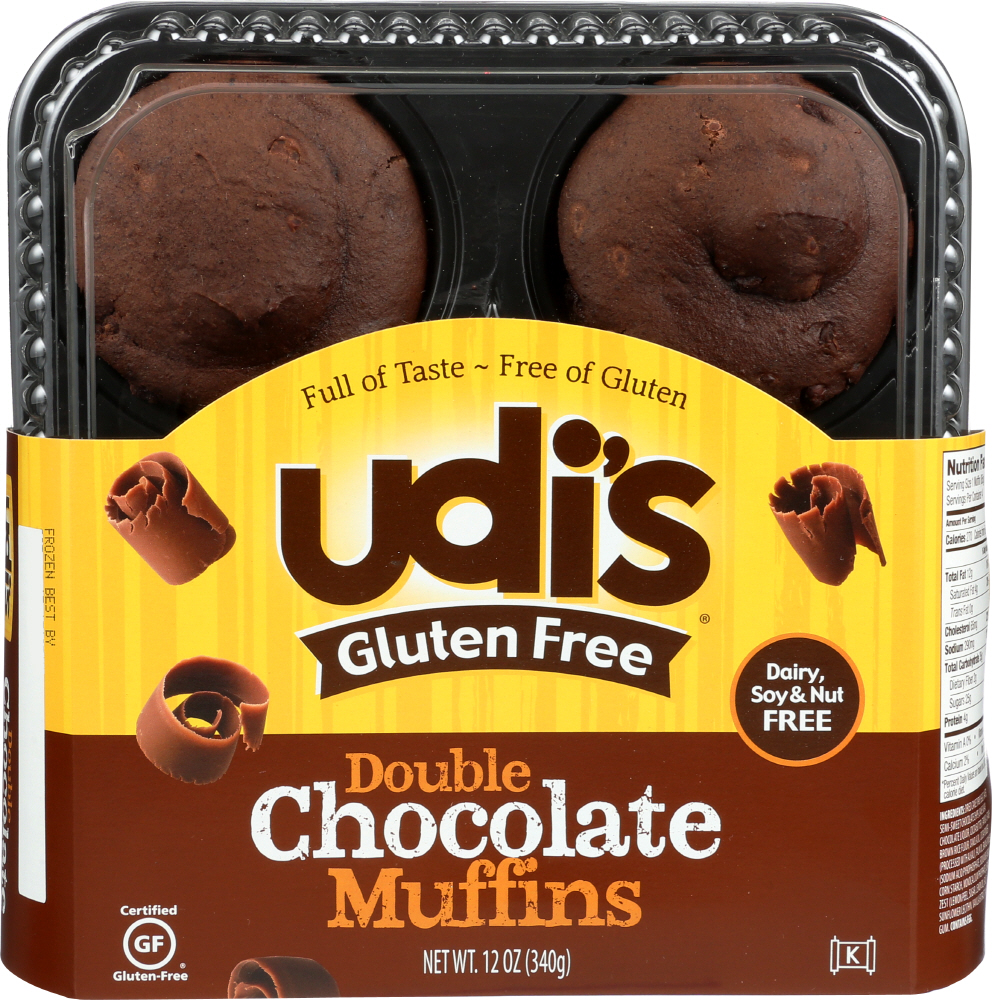 UDIS: Gluten-Free Double Chocolate Muffins 4 Count, 12 Oz