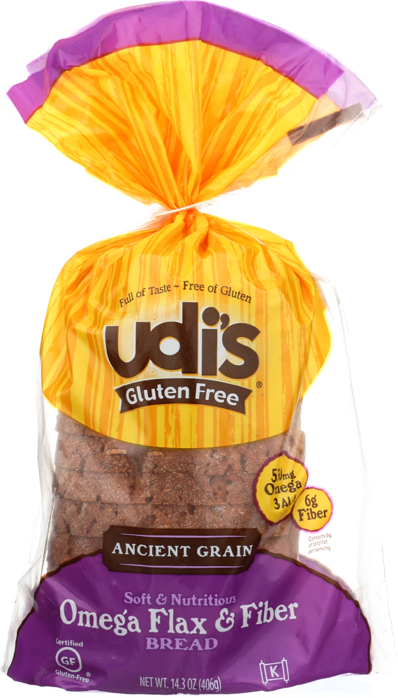 UDIS: Ancient Grain Omega Flax & Fiber Bread, 14.2 oz