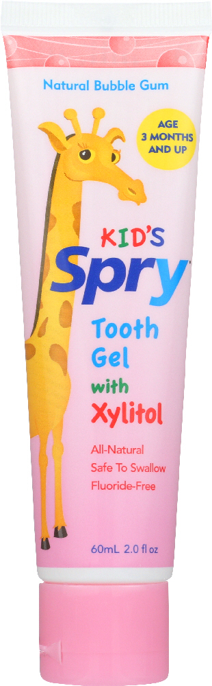 SPRY: Kid's Tooth Gel with Xylitol Natural Bubble Gum, 2 oz