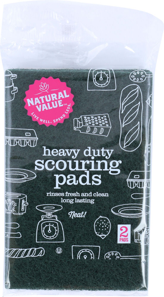 NATURAL VALUE: Heavy Duty Scouring Pads 2 Pack, 1 ea