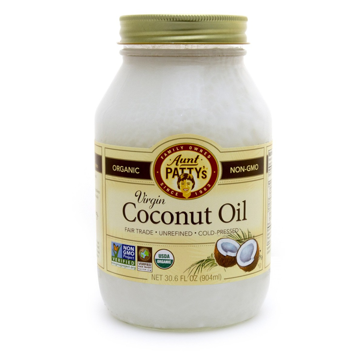 AUNT PATTY: Fair Trade Unrefined Virgin Coconut Oil, 30.6 oz