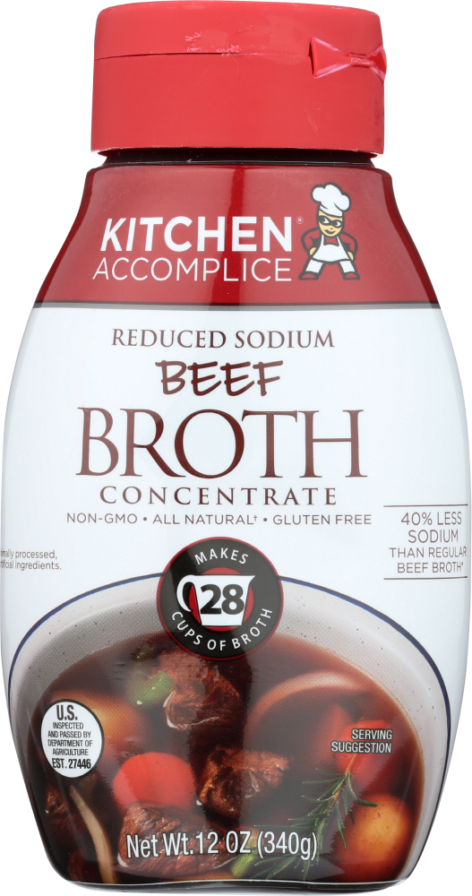 KITCHEN ACCOMPLICE: Beef Broth Concentrate Liquid, 12 oz