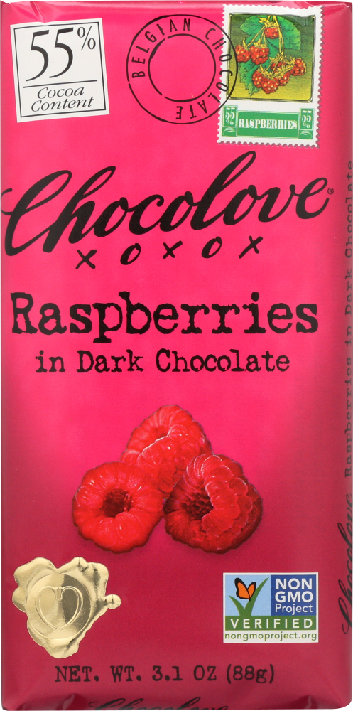 CHOCOLOVE: Raspberries In Dark Chocolate Bar, 3.1 oz