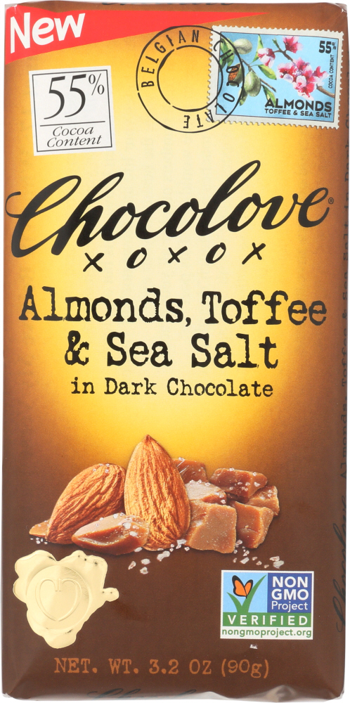 CHOCOLOVE: Almonds Toffee & Sea Salt in Dark Chocolate, 3.2 oz