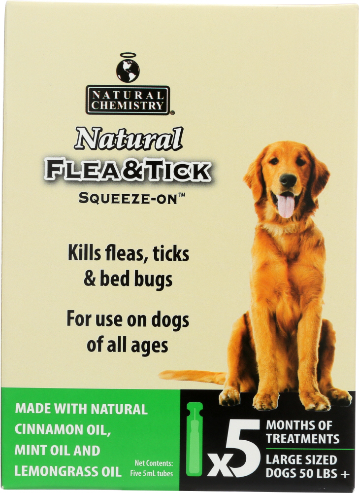 NATURAL CHEMISTRY: Natural Flea & Tick Squeeze On For Large Dogs, 25 ml