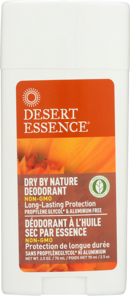 DESERT ESSENCE: Dry by Nature Deodorant with Chamomile and Calendula, 2.5 oz