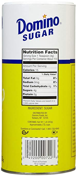 DOMINO: Sugar Granulated Canister, 16 oz