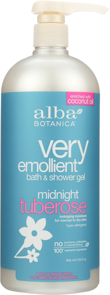 ALBA BOTANICA: Natural Very Emollient Bath & Shower Gel Midnight Tuberose, 32 oz