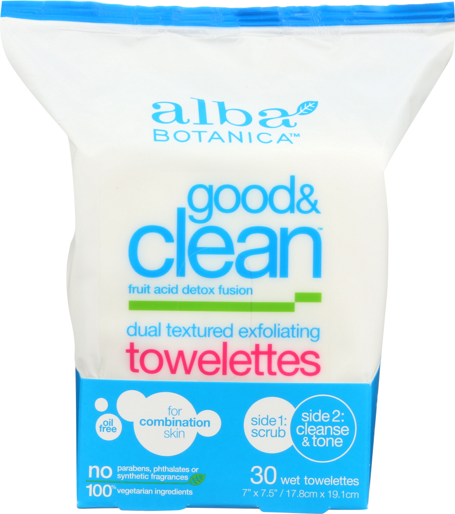 ALBA BOTANICA: Good & Clean Dual Textured Exfoliating Towelettes, 30 Wet Towelettes