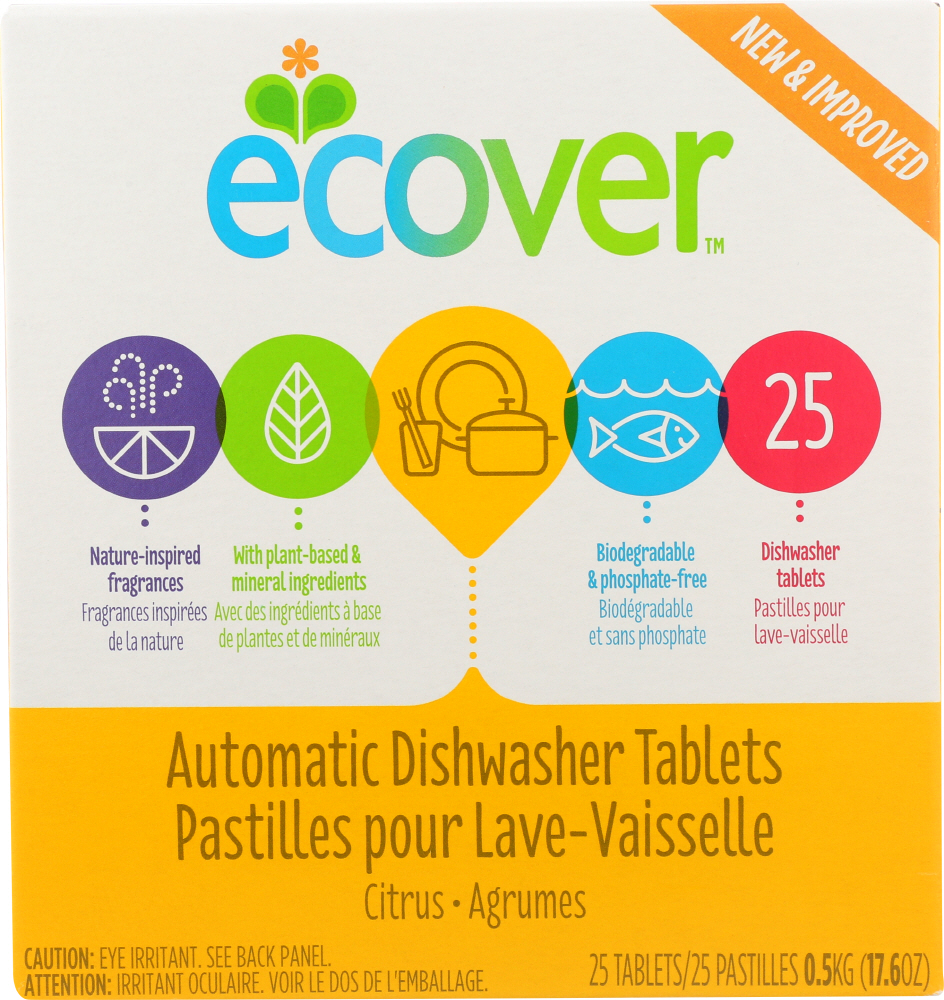 ECOVER: Automatic Dishwasher Tablets Citrus Scent 25 Tablets, 17.6 oz