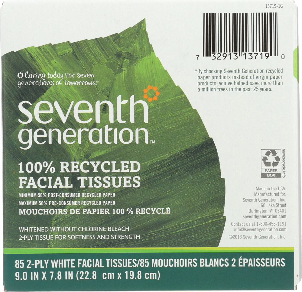 SEVENTH GENERATION: Facial Tissue White Unscented 85 Counts, 1 ea
