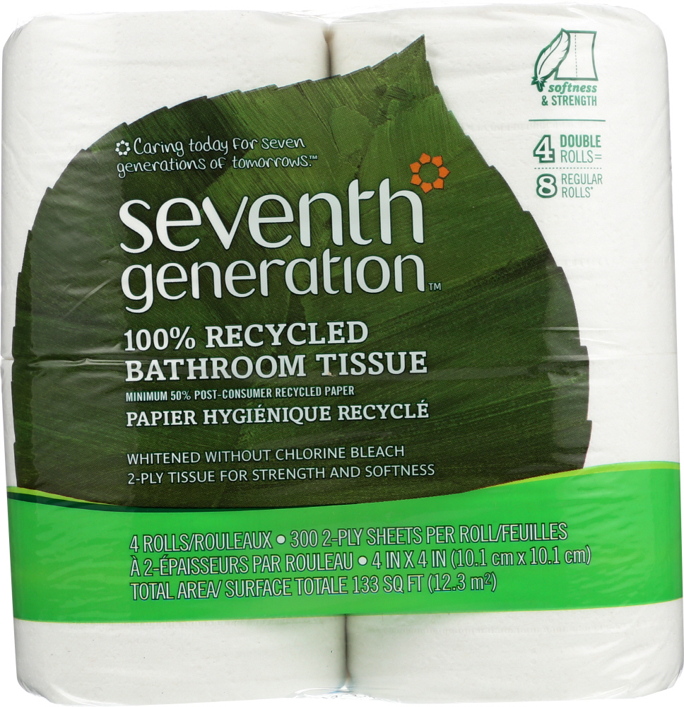 SEVENTH GENERATION: Bath Tissue 2 ply Pack of 4, 1 ea