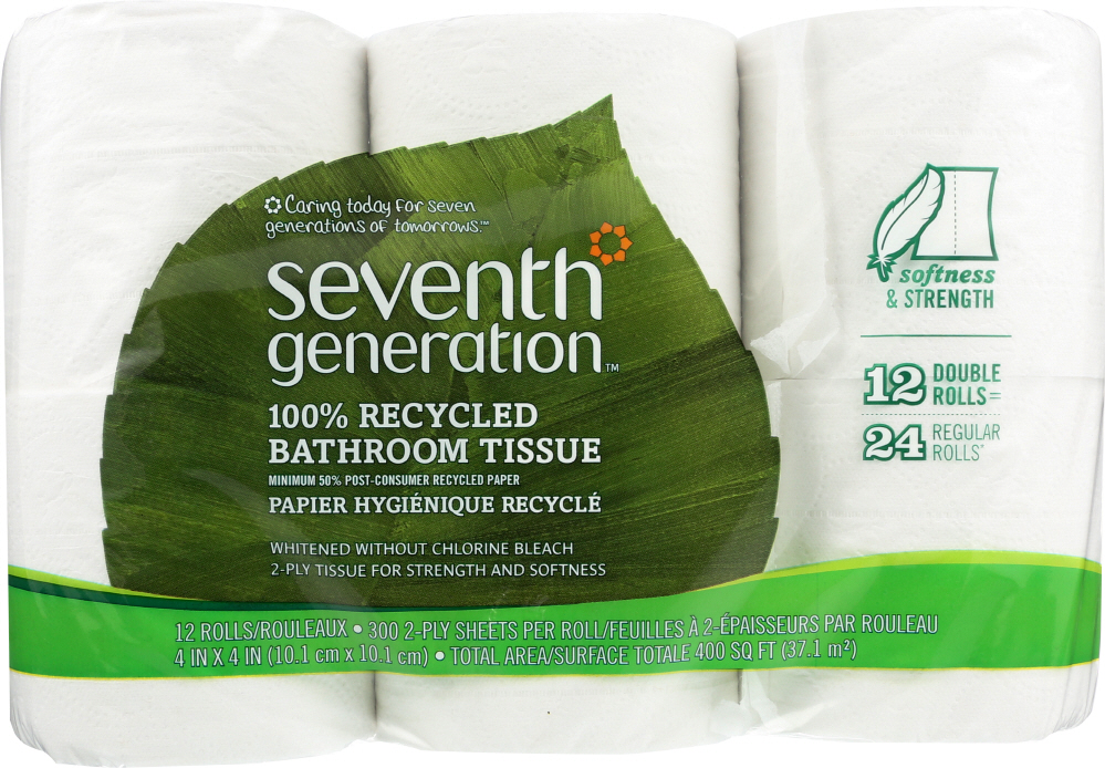 SEVENTH GENERATION: Bath Tissue 2 ply Pack of 12, 1 ea