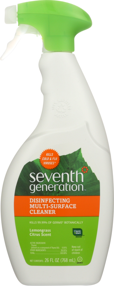 SEVENTH GENERATION: Cleaner Multi Surface Disinfectant Lemongrass, 26 oz