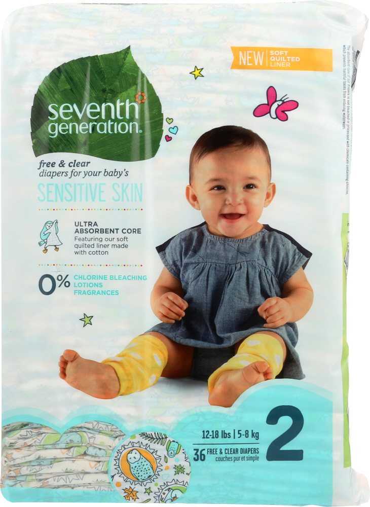 SEVENTH GENERATION: Baby Free & Clear Diapers Stage 2 12-18 Pounds, 36 Diapers