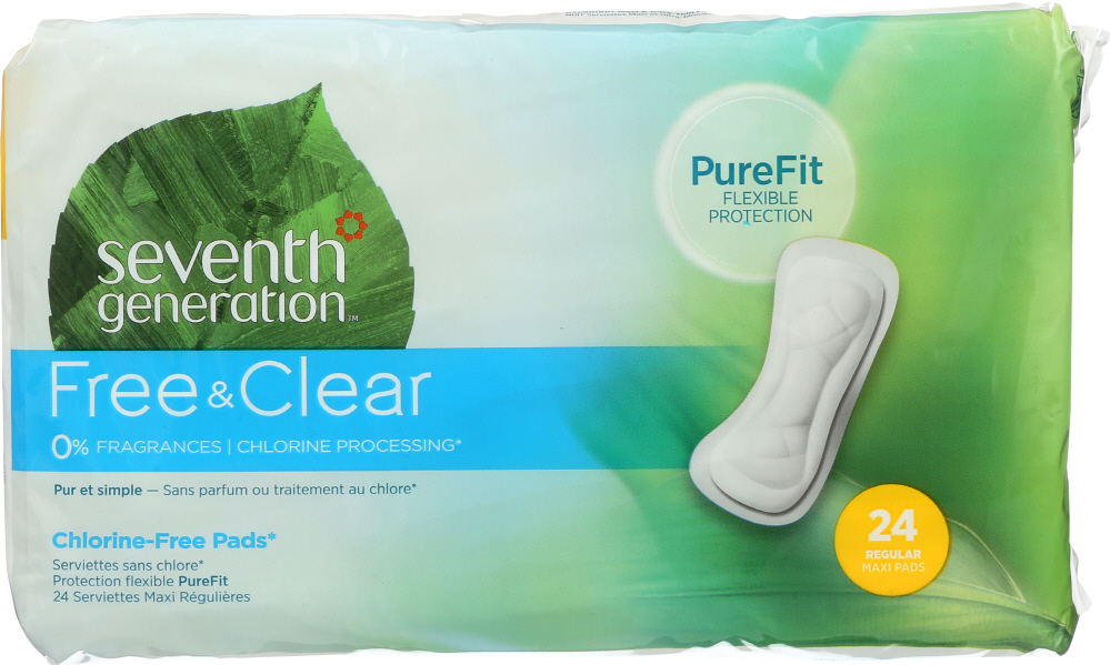 SEVENTH GENERATION: Free & Clear Maxi Pads Regular, 24 pc