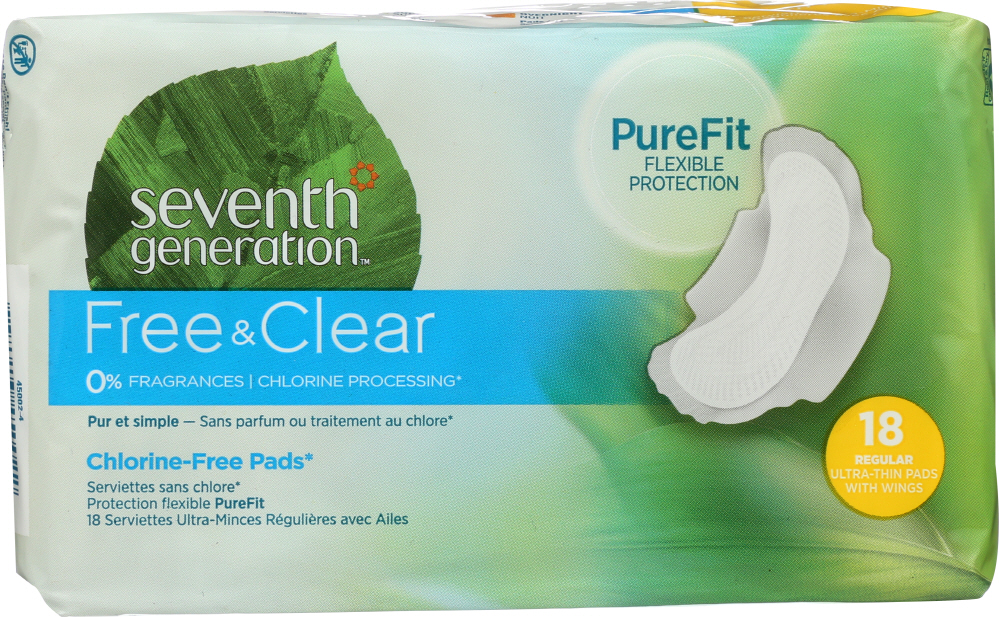 SEVENTH GENERATION: Chlorine Free Ultra-Thin Pads Regular with Wings, 18 Pads