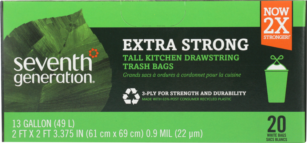 SEVENTH GENERATION: Tall Kitchen Bags 13 Gallon 2-Ply, 20 Bags