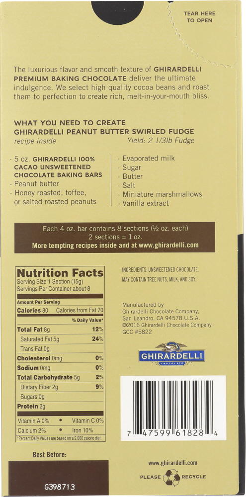 GHIRARDELLI: Premium Baking Bar 100% Cacao Unsweetened Chocolate, 4 oz