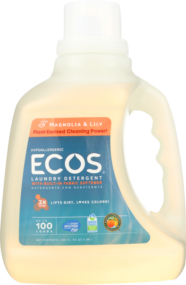 EARTH FRIENDLY: Ecos 2x Ultra Liquid Laundry Detergent Magnolia and Lily, 100 oz