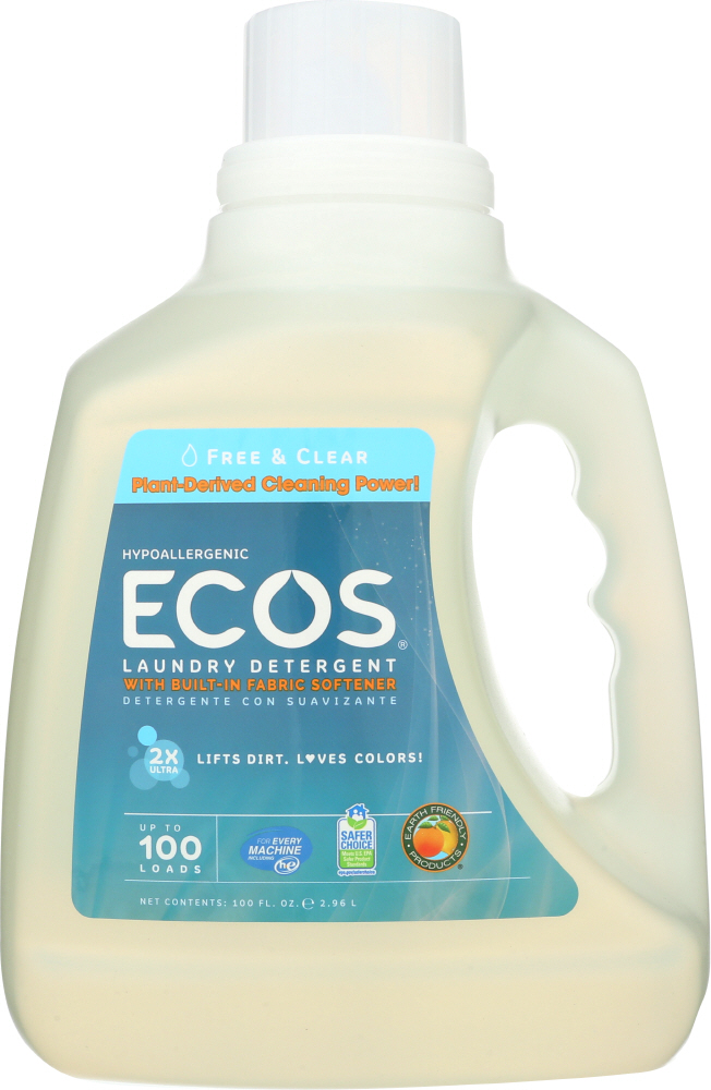 EARTH FRIENDLY: Ecos 2x Ultra Laundry Detergent Free and Clear, 100 oz