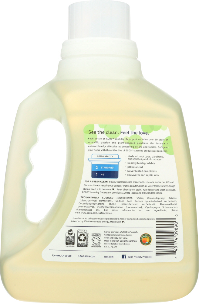 EARTH FRIENDLY: Ecos 2x Ultra Laundry Detergent Lemongrass, 100 oz