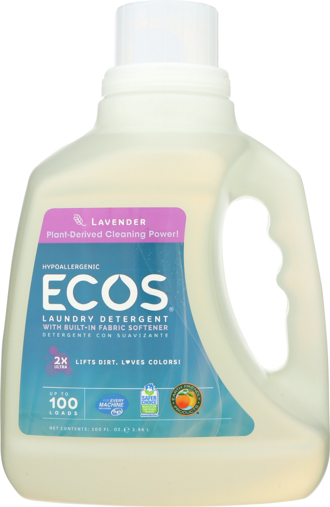 EARTH FRIENDLY: Ecos 2x Ultra Liquid Laundry Detergent Lavender, 100 oz