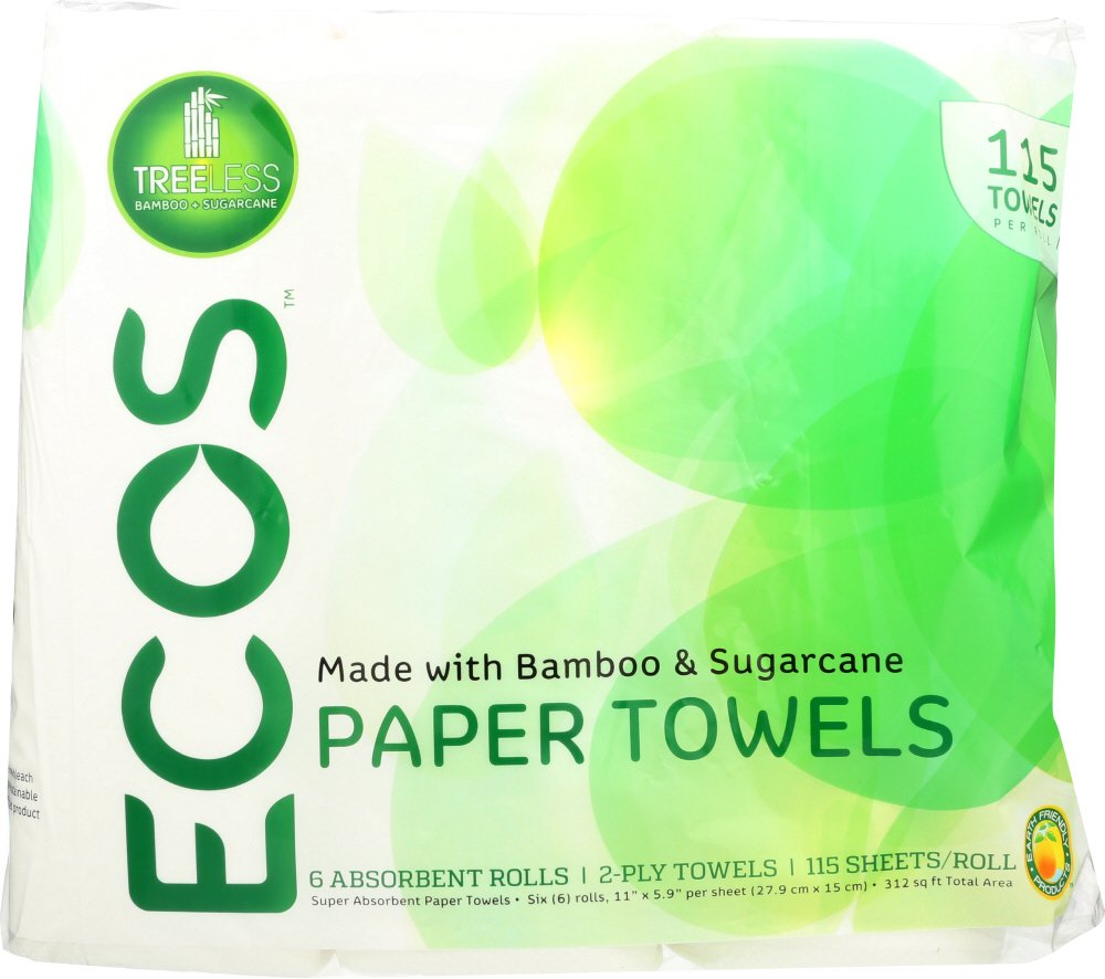 EARTH FRIENDLY: Treeless Paper Towels 115 Towels Per Roll 2 Ply, 6 pk