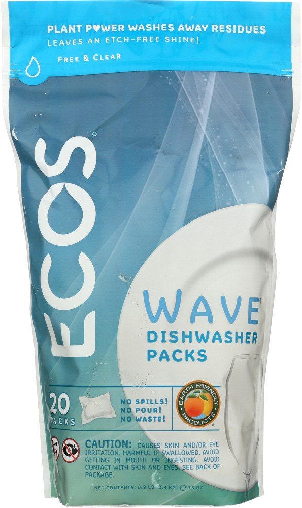 EARTH FRIENDLY: Wave Dishwasher Detergent Packs Free & Clear, 14.5 oz