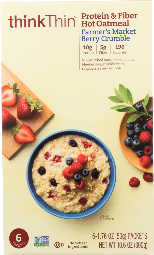 THINK THIN: Oatmeal Farmers Market Berry Crumble, 6 Pack, 10.58 oz