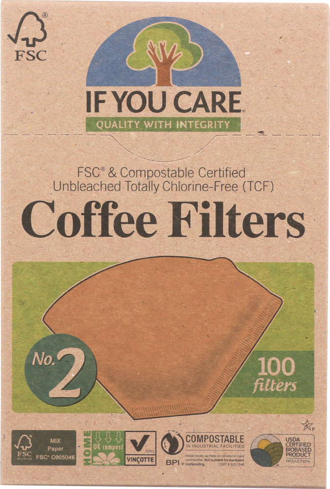 IF YOU CARE: Coffee Filters No. 2 Size, 100 Filters