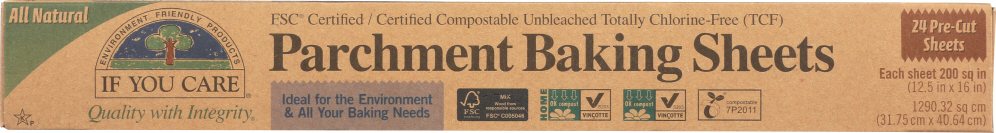 IF YOU CARE: Parchment Baking Sheets 200 sq in, 24 Pre-Cut Sheets