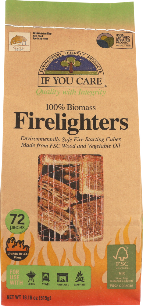 IF YOU CARE: 100% Biomass Firelighters, 72 pc