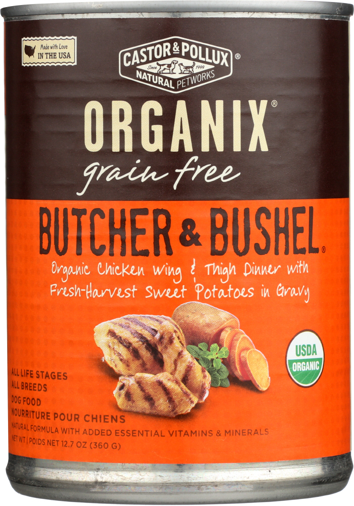 CASTOR & POLLUX: Dog Food Can Organic Butcher and Bushel Chicken Wing, 12.7 oz
