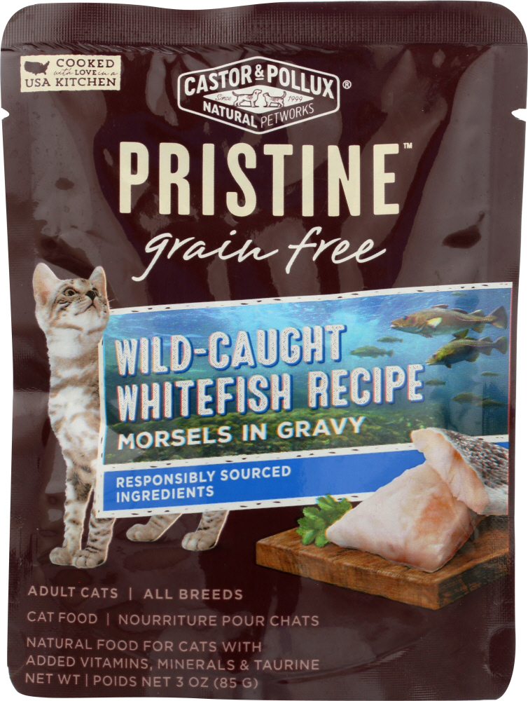 CASTOR & POLLUX: Cat Food Can Pristine Grain Free Whitefish Morsel, 3 oz