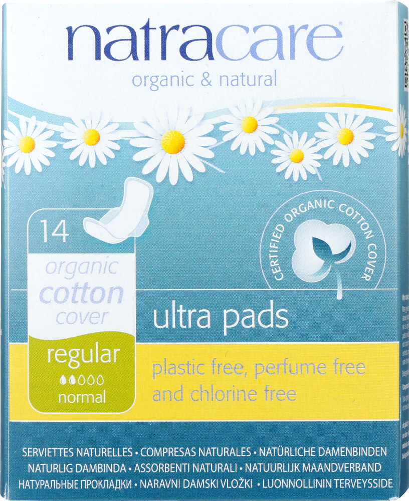 NATRACARE: Organic and Natural Ultra Pads Regular with Wings Cotton Cover, 14 Pads