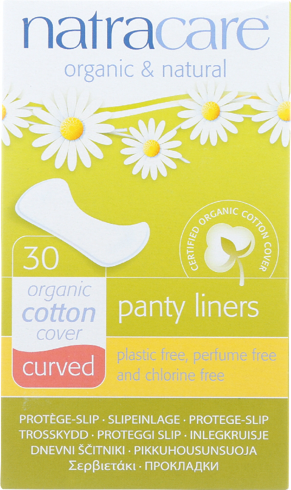 NATRACARE: Organic and Natural Panty Liners Cotton Cover Curved, 30 Liners
