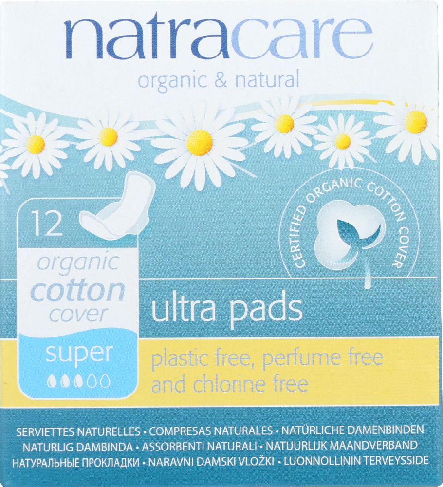 NATRACARE: Natural Ultra Pads Cotton Cover Super, 12 Pads