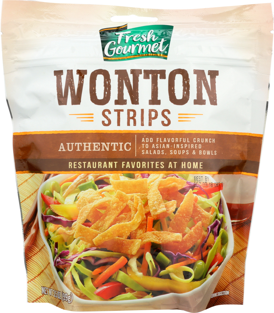 FRESH GOURMET: Wonton Strips Authentic, 3.5 Oz