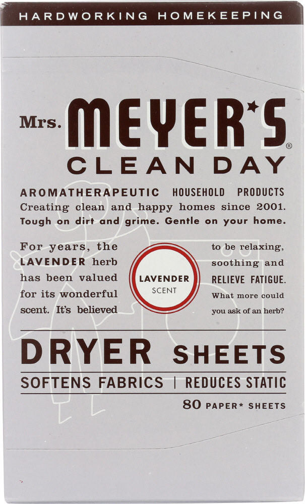 MRS MEYERS CLEAN DAY: Dryer Sheets Lavender Scent, 80 Sheets