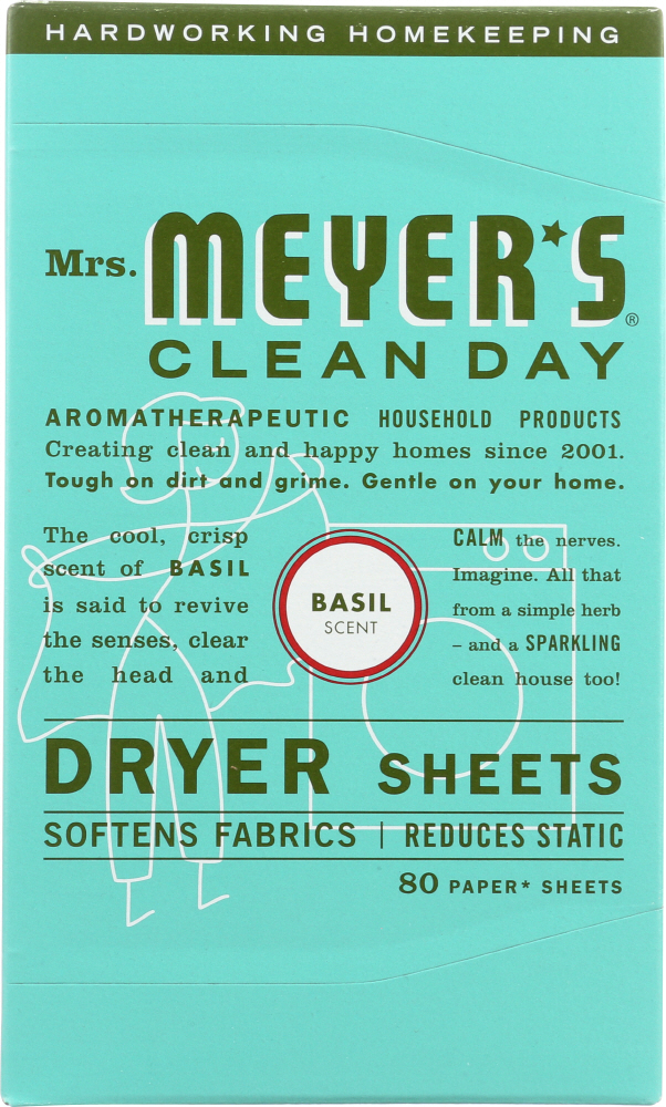 MRS. MEYER'S: Clean Day Dryer Sheets Basil Scent, 80 sheets