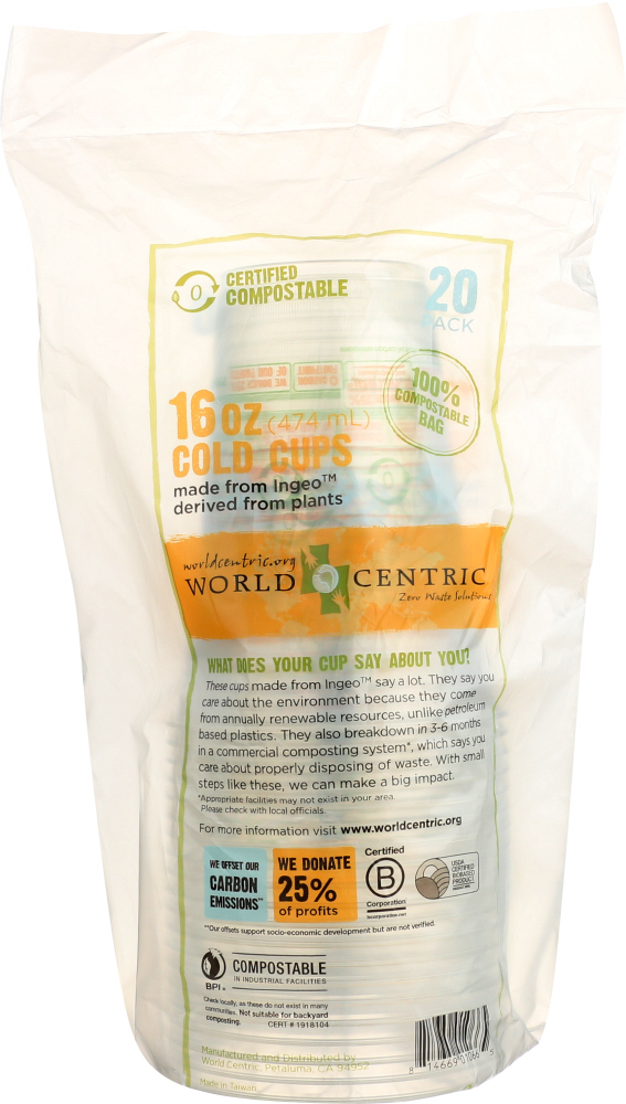WORLD CENTRIC: Ingeo Cold Cups, 16 Oz