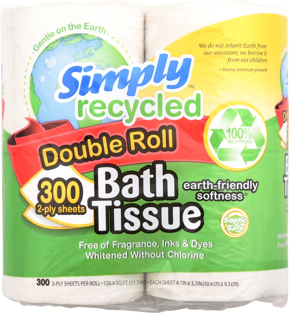 SIMPLY RECYCLED: 2-Ply Double Roll Bath Tissue, 1 ea