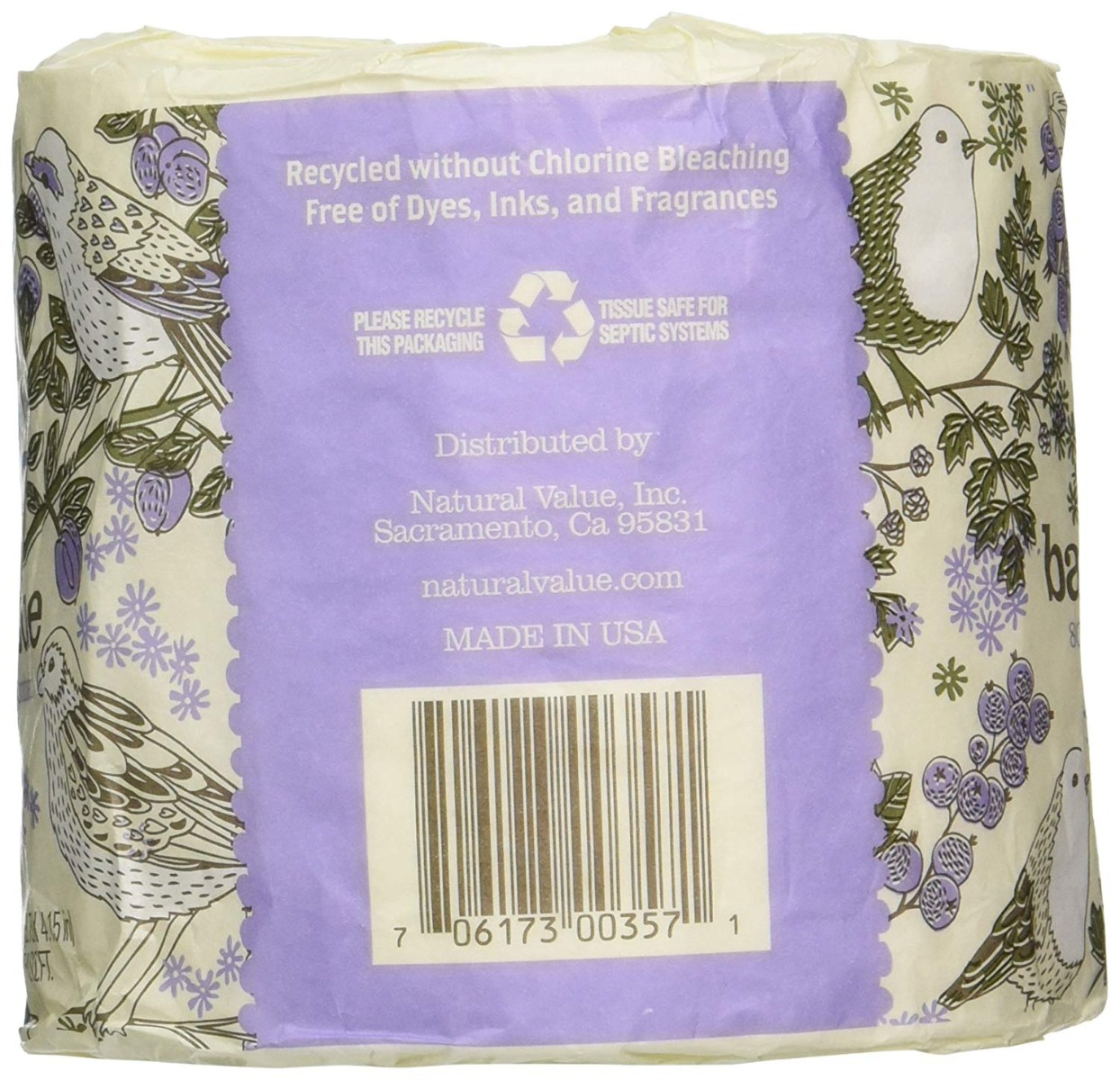 NATURAL 100% Recycled Bathroom Tissue Single Roll, 1 ea