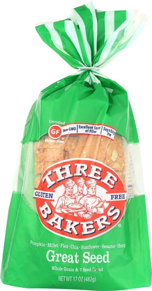 THREE BAKERS: Great Seed Whole Grain and 7 Seed Bread, 17 oz