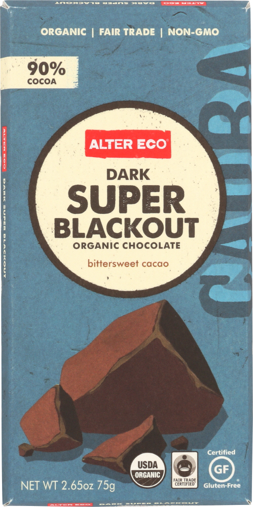 ALTER ECO: Chocolate Bar Super Blackout Organic, 2.65 oz