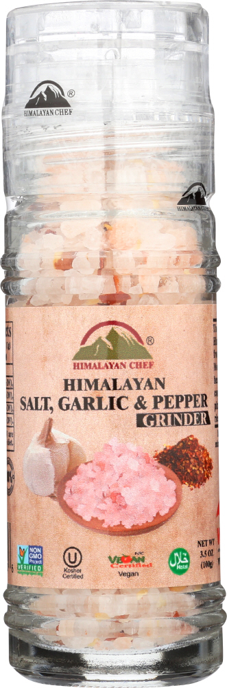 HIMALAYAN CHEF: Grinder Salt Himalayan Garlic Pepper, 3.53