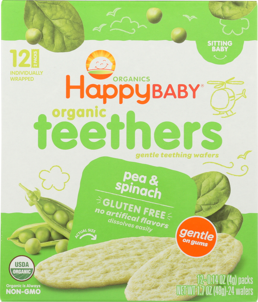 HAPPY BABY: Organic Teething Wafers Pea and Spinach, 1.7 oz