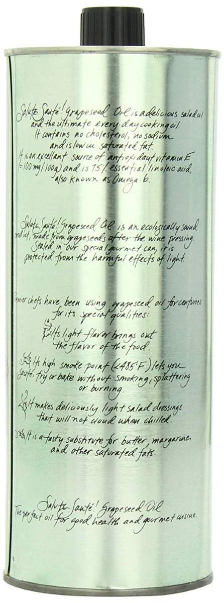 SALUTE SANTE: Grapeseed Oil Cold Pressed Can, 33.8 fl oz