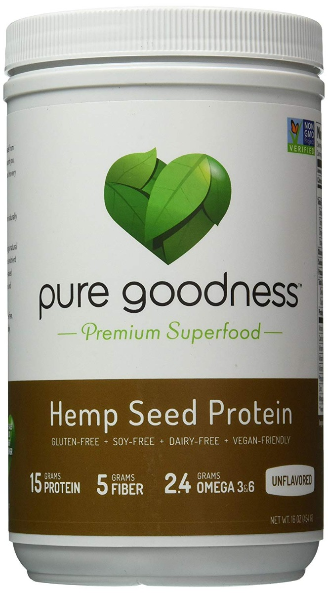 PURE GOODNESS: Hemp Seed Protein Powder, 16 oz
